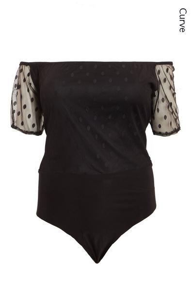 Curve Black Polka Dot Mesh Bodysuit